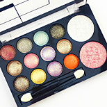 Professional 2in1 Blusher&Eyeshadow 12 Glitter Shimmer Color Eyeshadow2 Blush Neutral Nude Eye Shadow Cosmetic Makeup Palette Set with Brush Mirror