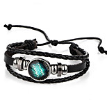 Unsex Vintage Aquarius Weave Leather Bracelet   Jewelry For Daily 1 pc