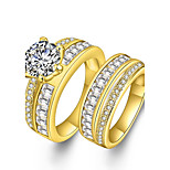 Men's Women's Couple Rings Cubic Zirconia Synthetic Diamond Bohemian Punk Luxury Statement Jewelry Simple Style Zircon Rhinestone Gold