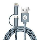 USB 2.0 Cable, USB 2.0 to Micro USB 2.0 Lightning Cable Macho - Macho 1,5 m (5 pies)