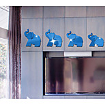 The Elephant 3 D  Mirror Decorative Wall Stickers