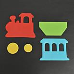 4pcs Train Plastic Fondant Cutter Cake Mold Fondant Cupcake Decorating Tools Durable