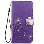 Case For Huawei Honor 9 V9 Case Card Holder Wallet Rhinestone with Stand Flip Embossed Full Body Case Flower Hard PU Leather for Honor 7 8 V8