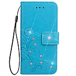 Case For Sony Xperia Z3 Z4 Case Cover Card Holder Wallet Rhinestone with Stand Flip Embossed Full Body Case Flower Hard PU Leather for Xperia Z2 Z5
