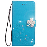 Case For Huawei P8 Lite P8 Lite 2017 Case Card Holder Wallet Rhinestone with Stand Flip Embossed Full Body Case Flower Hard PU Leather for G7 Y5 II