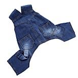 Собака Комбинезоны Джинсовые куртки Брюки Одежда для собак Для вечеринки День рождения ковбой На каждый день Мода Сплошной цвет Синий