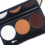Pro 3 Color Waterproof Eyeshadow Powder Kit Earth Tone Color Lasting Smoky Eyes Shadow Makeup Palette Applicator Mirror