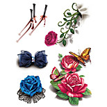 Temporary Face Body Flower Series 3D Rose Waterproof Tattoos Stickers Non Toxic Glitter Large Fake Tattoo Halloween Gift 22*15cm