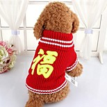 Dog Sweater Dog Clothes New Year's Letter & Number Red