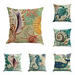 Set Of 6 Mediterranean Design Conch Sea Horse Pillow Cover Classic Square Pillow Case