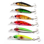 HiUmi 6 Pcs Hard Bait Fishing Tackle 6 colors 7.1CM/4.0G Transparent Laser Minnow Fishing Lures Fishing Bait