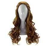 Парики из искусственных волос Без шапочки-основы Длиный Кудрявые Бежевый Парики для косплей Карнавальные парики