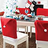 Недорогие -1шт 60 * 50 см Санта Клаус колпачок стул обложка рождественский ужин стол вечеринка красная шляпа стул назад обложки рождественские
