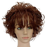 Women Synthetic Wig Capless Short Curly Brown African American Wig With Bangs Natural Wig Costume Wigs