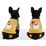 Dog Jumpsuit Dog Clothes Plush Fabric Winter Spring/Fall Casual/Daily Cartoon Yellow Blue For Pets