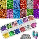 12Colors/Box Colorful Glitter Sequins Nail Art Laser Thin Slice Paillette Manicure DIY Glisten Decoration