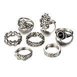 Men's Women's Rings Set Acrylic Fashion Vintage Bohemian Punk Simple Style Silver Plated Alloy Flower Geometric Jewelry For Wedding Party