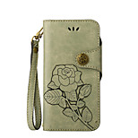 For Case Cover Card Holder Wallet with Stand Flip Embossed Full Body Case Solid Color Flower Hard PU Leather for Sony Sony Xperia XZ Sony