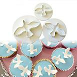3PCS /Set Dove Shape Cake Decorating Fondant Lacing Plunger Cutters Tools Mold Flowers