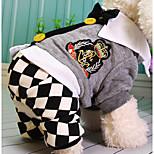Собака Комбинезоны Одежда для собак На каждый день В клетку Серый