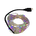 5V 10M 100leds LED Silver wire Strip Light USB power supply Fairy Lights Garlands Christmas Holiday Wedding Party 1pcs