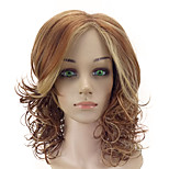 Women Synthetic Wig Capless Medium Curly Brown Highlighted/Balayage Hair Middle Part With Bangs Natural Wig Costume Wigs