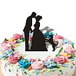 Acrylic Cake Inserts Abstract Groom Bride And Dog Cake for Wedding Decoration