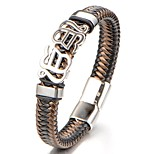 Men's Boys' Bangles Bracelet Jewelry Fashion Classic Leather Titanium Steel Geometric Jewelry For Daily Going out