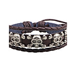 Men's Leather Bracelet Metallic Adjustable Leather Alloy Skull / Skeleton Jewelry For Casual Street