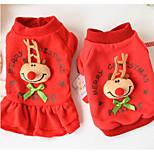Собака Толстовка Одежда для собак Рождество Северный олень Красный Зеленый