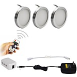 3PCS 2W Dimmable LED Under Cabinet Puck Lights with Wireless RF Remote Control for Furniture Lighting  85-265V