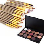 15 Color Eyeshadow Eyebrow Powder Cosmetic Palette & 20 Eyeshadow Eyebrow Makeup Brush Set