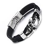 Муж. Кожаные браслеты Хип-хоп Rock Кожа Титановая сталь В форме черепа Бижутерия Назначение Для вечеринок День рождения