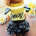 Собака Платья Одежда для собак На каждый день Буквы и цифры Желтый Розовый
