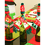 3PCS Knitting Christmas Hat Scarf Red Wine Bottle Christmas Decorations Fashion Festival Gift Decor Supply