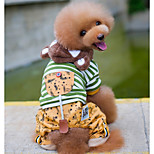 Dog Hoodie Jumpsuit Dog Clothes Warm Casual/Daily Stripe Gray Green Costume For Pets