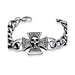 Men's Chain Bracelet Charm Bracelet Jewelry Punk Cross Stainless Steel Silver Plated Cross Jewelry For Halloween Street
