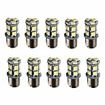 10pcs 1156 Led 13 smd 5050 P21W Car Tail Brake Reverse Signal Light White Color DC12V