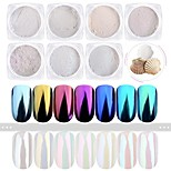 7Bottles/Set Nail Art Shining Powder Mirror Effect Shimmer Nail DIY Colorful Decorations