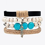 Men's Women's Strand Bracelet Leather Bracelet Jewelry Fashion Personalized Hip-Hop Handmade Leather Alloy Wings / Feather Jewelry For