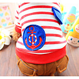 Dog Shirt / T-Shirt Clothes/Jumpsuit Dog Clothes Casual/Daily Stripe Blue Red