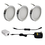3PCS 2W  LED Under Cabinet Puck Lights with ON/OFF Switch for Furniture Lighting Warm White Cold White 85-265V