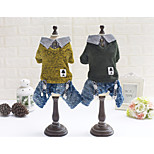 Dog Shirt / T-Shirt Clothes/Jumpsuit Dog Clothes Casual/Daily British Green Yellow