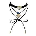Women's Choker Necklaces Imitation Diamond Jewelry Leather Imitation Tourmaline Fashion Elegant Jewelry For Casual Going out