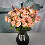 cheap -1 Branch Plastic Roses Tabletop Flower Artificial Flowers