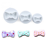 3PCS/Set Bow Tie Shape Cookie Mold Plastic White Sugar Arts Set Fondant Cookie