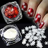 2colors / set 1g / bottle xmas white&красное искусство ногтей блестящие 3d снежинки блестки украшение маникюра