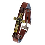 Men's Leather Bracelet Vintage Cross Leather Alloy Cross Jewelry For Casual Going out