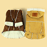 Dog Coat Dog Clothes Plush Fabric Winter Casual/Daily Keep Warm British Yellow Brown For Pets