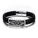 Men's Leather Bracelet Hip-Hop Rock Leather Titanium Steel Circle Jewelry For Party Birthday Gift Evening Party